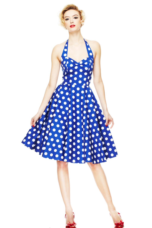 Rockfrocks com blue polka dot swing summer dress by hell bunny