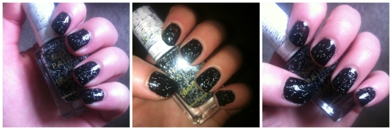 Barry M Confetti Nail Effects in 'Liquorice' over China Glaze 'Liquid Leather'