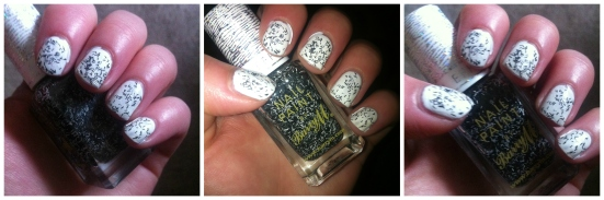 Barry M Confetti Nail Effects in 'Liquorice' over Sally Hansen 'Ivory Skull'