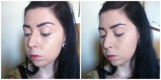 Catrice Prime and Fine Mattifying Waterproof Powder Before After